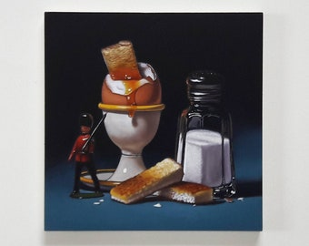 Original oil painting, boiled egg and toy soldier, breakfast still life