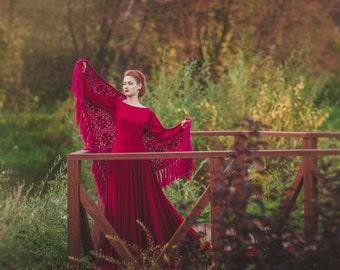 Crocheted accessory - Burgundy wool crochet shawl - Fringed wine shawl - Crochet shawl - Bridal wrap - Evening shawl