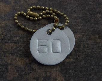Number 50 TAG, vintage tag, aluminum number tag, sheep, cow, livestock tag