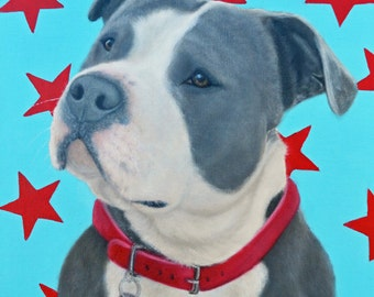 Pit Bull Magnet - Pit Bull Art Magnet - A Pittie Party - Bull Dog Magnet - Proceeds Benefits Animal Charity