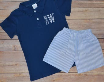 Boy monogrammed polo shirt, boy back to school outfit, boy summer outfit, seersucker shorts, toddler seersucker outfit, toddler polo
