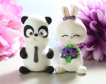Panda and Bunny Rabbit wedding cake toppers - unique cake toppers funny bride groom figurines wedding gift personalized black white purple