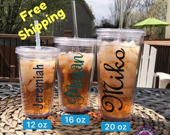 Personalized Cup : Cups with Straw, Clear Tumbler FREE SHIPPING Wedding Party Cups - Bridesmaid Cups - Birthday Cup Kids 12oz 16oz 20oz