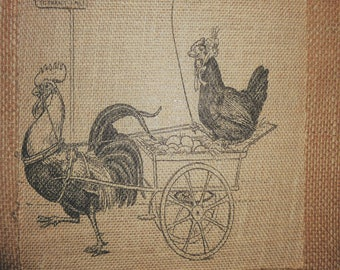 Rooster & Chicken Going to the Market Burlap Picture