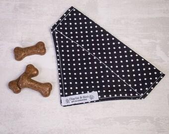 Black dog bandana - Polka dot dog bandana - Puppy bandana - Dog scarf - Dog necktie - Dog neckerchief - Spotty dog bandana - Puppy gift