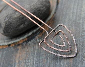 Ancient Greek motif hair fork, hair stick, hair pin, geometric hair accessories, triangle, textured copper, metal hair fork, minimalist