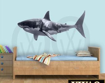 Great White Shark Wall Decal Shark Wall Decor Realistic Shark Sticker Peel And Stick Home Decor PAS3