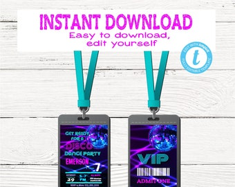 NEON DISCO Invitation Vip pass | Edit Yourself VIP, Disco Dance Party, Backstage pass, Invitation Birthday Instant Download, Glow 80's Party