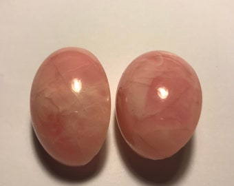 Large marbelled pink resin dome clip on earrings