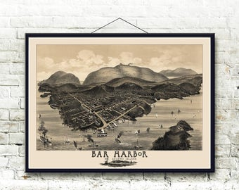 Bar Harbor, Mount Desert Island Maine 1886 Bird's Eye View Map  Fine Art Print