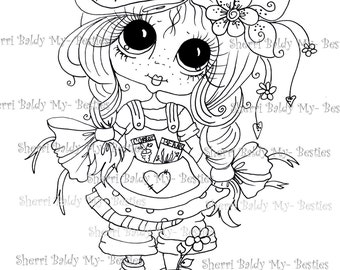 INSTANT DOWNLOAD Digital Digi Stamps Big Eyed  My Bestie Digi Stamp Besties Big Head Dolls Digi IMG313 By Sherri Baldy