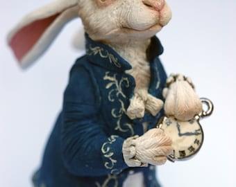 White Rabbit, Alice in Wonderland, Original Ceramic Sculpture, handbuilt