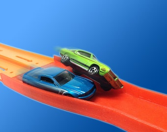 2-Lane Raceway Elimination Crash Merger (Compatible with Hot Wheels Race Track & Cars) 2-to-1 Reducer