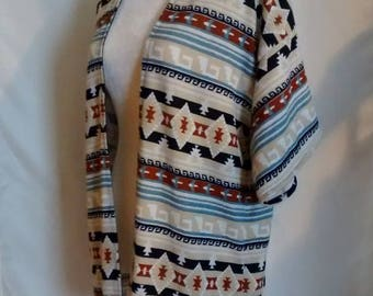 Multi Aztec Print Kimono Cardigan