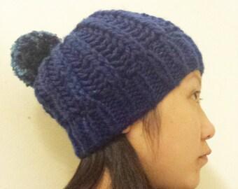 Knit Chunky Pompom Hat - Navy Blue