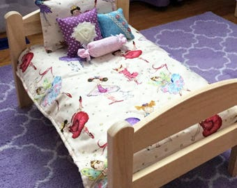 Ballerina doll bedding set 5 pcs, 18 inch girl doll, comforter, pillows, shabby chic american style, waldorf doll bedding, girl gift