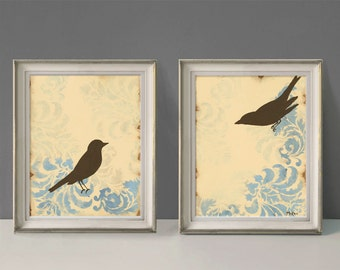 Love Bird Prints, Home Decor, French Country, Cottage Chic, Shabby, 11 x 14 inches