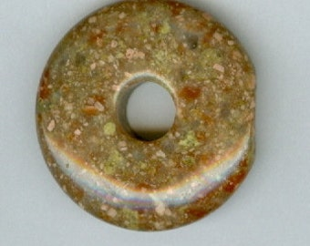 32mm Red and Green Autumn Jasper Gemstone Pi Donut Pendant 11206