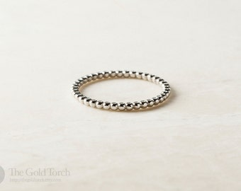 Stackable Ring, Beaded 1.6mm Stackable Ring, Choice of Gold or Platinum
