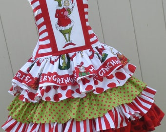 Made to Order Custom Boutique Grinch Whoville Seuss Christmas Dress Girl Sizes 2 3 4 5 6 7 or 8