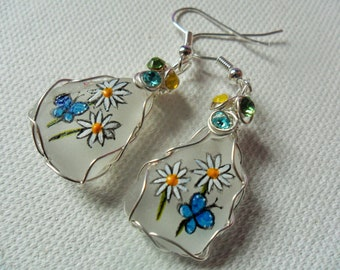 Blue butterfly daisy hand painted dangle earrings - Sea glass & wire wrapping with Swarovski crystals