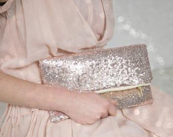 Rose Gold sequin purse |  Rose Gold Wedding Clutch | Blush Clutch | Blush Bridesmaid Purse