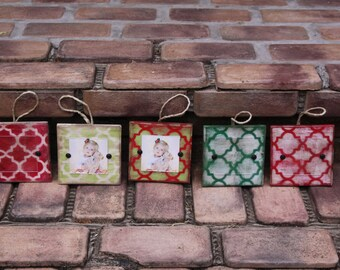Christmas tree ornaments; picture frame ornaments; photo ornaments; holiday decor