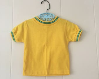 1960's health-tex yellow & green striped short sleeved shirt - size 12 months
