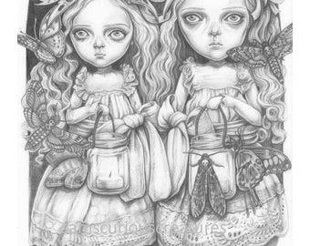 Freya and Faye, an A6  postcard