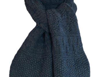 Hand Knit Scarf - Blue Deer Valley Alpaca Sampler