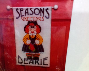 Kit-Seasons, Banner, Counted Cross Stitch, with balls for hanger, by The Sugarplum Express, Vintage