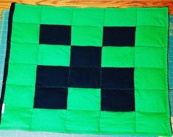 Weighted Blanket Black Green Gamer Creeper Pixels Boys Sensory Autism ADHD Kids
