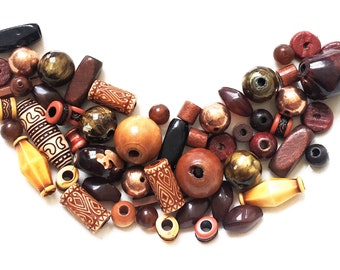 assorted bead soup destash//wood and acrylic plastic//brown green gold--mixed lot of 55