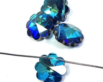 Swarovski Vintage Bermuda Blue 14mm Beads 2 pieces, Vintage Swarovski, Pendant Bead