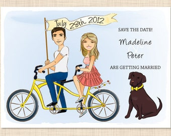 Customizable Save the Date Portrait 5x7 Tandem Bicycle Postcard Wedding Illustration