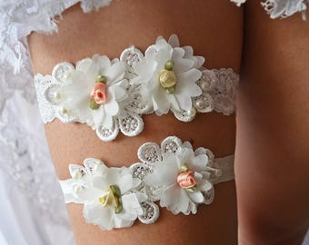 Wedding Garter, Lace Wedding Garter, Lace Garter Set, Ivory Garter, Wedding Garter Set, Ivory Garter Set, Lace Garter, Bridal Lace Garter