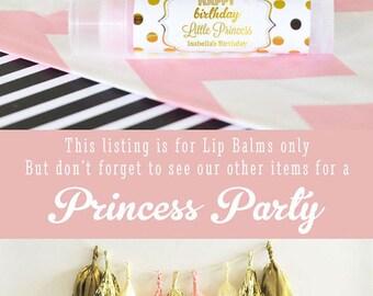 Princess Party Favors - Princess Birthday Party Favors - Pink and Gold Party Favors - 1st Birthday Princess Lip Balm (EB3031FY) set of 16|