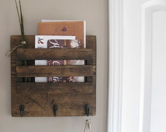 Distressed Mini, Farmhouse, Mail Organizer, Rustic Organizer, Key Holder, Mail Holder, 3 Hooks, Personalized Option Available
