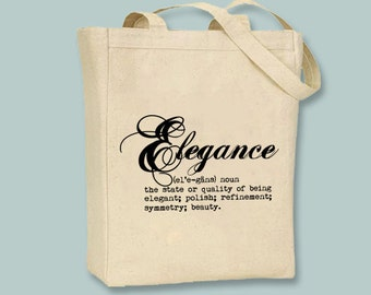 Elegance Definition Typography Illustration Canvas Tote -- Selection of sizes available, print in ANY COLOR
