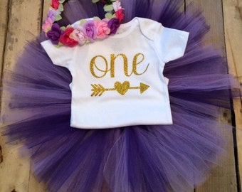 First Birthday Outfit Girl, Purple and Gold Birthday, 1st Birthday Girl Outfit, Girls First Birthday Outfit, Girls 1st Birthday, Arrow