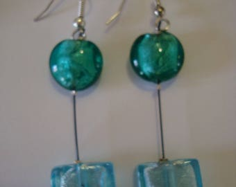 Light blue and emerald green earrings