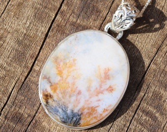 Dendritic Agate 925 Silver Healing Stone Necklace with Positive Healing Energy!