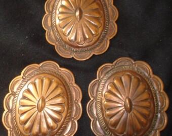 Vintage Concho Belt Copper Navajo Belt Conchos ~ Hammered Sunrise Design ~ Lot of 3