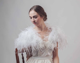 White Ostrich feather bridal wedding cape bolero