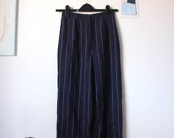 1980s high waist pinstripe linen trousers - size XS/ uk 6/ eu 34/ us 0