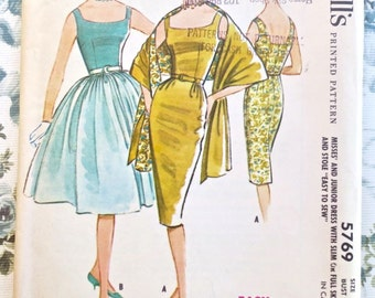 Vintage 1960s Womens Dress Pattern with Two Skirts and Stole - McCalls 5769