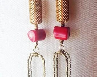 Brass & Coral Dangle Duster Earrings