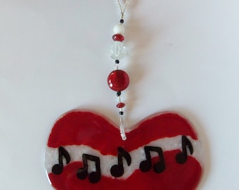 Musical Heart // Fused GLass // Suncatcher // Ornament // Notes // Hanging // Red // Large // Wall Art // Unique // One of a Kind // Fun