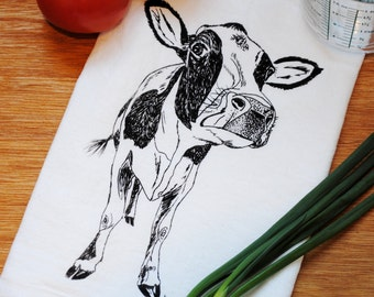 Cotton Kitchen Towel - Hand Screen Printed Black Cow - Flour Sack - Towel is Perfect for Dishes - Farm Towels - Country Towel