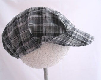 Infant and Toddler Handmade Hat - Newsboy Style Hat - Childs Black, White, and Grey Plaid Hat - Size Small, Medium, Large, or X Large